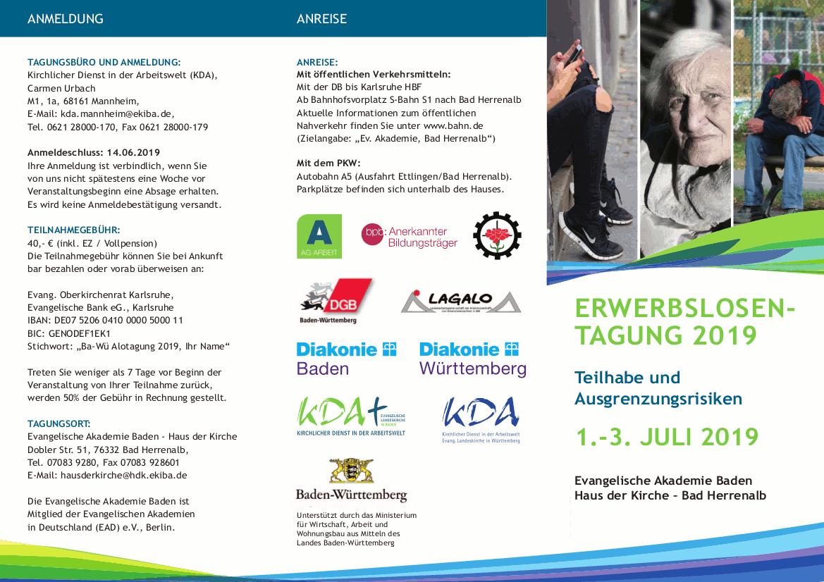 Flyer zur Erwerbslosen-Tagung 2019 in Bad Herrenalb (Vorderseite)